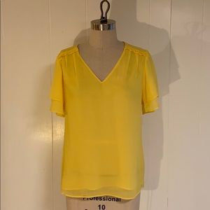 Banana Republic chiffon yellow ruffle v-neck top